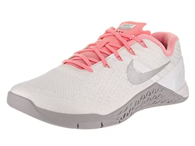 8d57add303430 Nike Womens Metcon 3 Training Shoes White Silver Bright Melon 849807-102  Size 8.5  Buy Online at Low Prices in India - Amazon.in