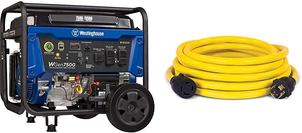Westinghouse WGen7500 Portable Generator with Remote Electric Start - 7500 Rated Watts & 9500 Peak Watts & Champion 25-Foot 30-Amp 250-Volt Generator Power Cord for Manual Transfer Switch