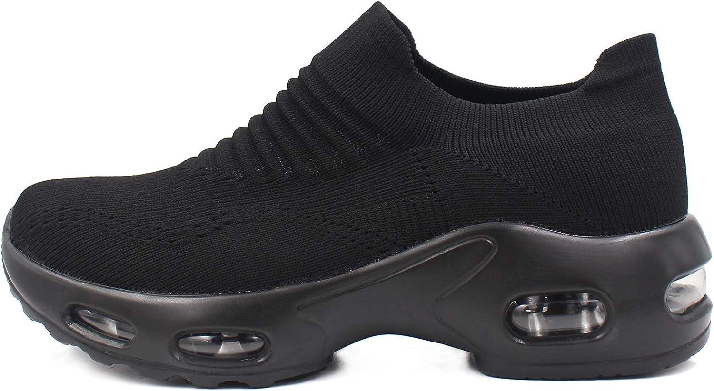 L LOUBIT Women Walking Shoes Comfort Slip On Platform Socks Sneakers Breathable Wedge Nurse Loafers