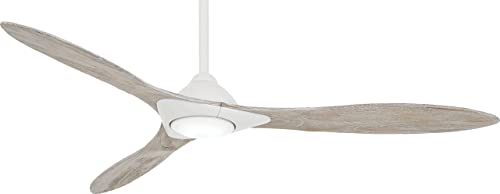 Minka Aire F868L-WHF Sleek 60 Ceiling Fan with LED Light and Remote Control, Flat White