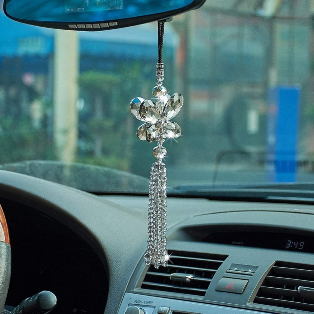 Colorful Green ATMOMO Crystal Butterfly Car Rear View Mirror Accessories Lucky Car Hanging Ornament