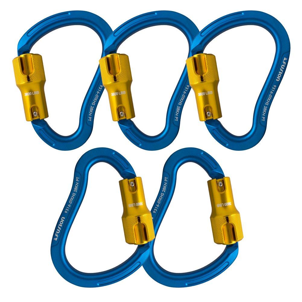 Fusion Climb Techno Groove Triple Lock High Strength Ergonomic Carabiner  5-Pack
