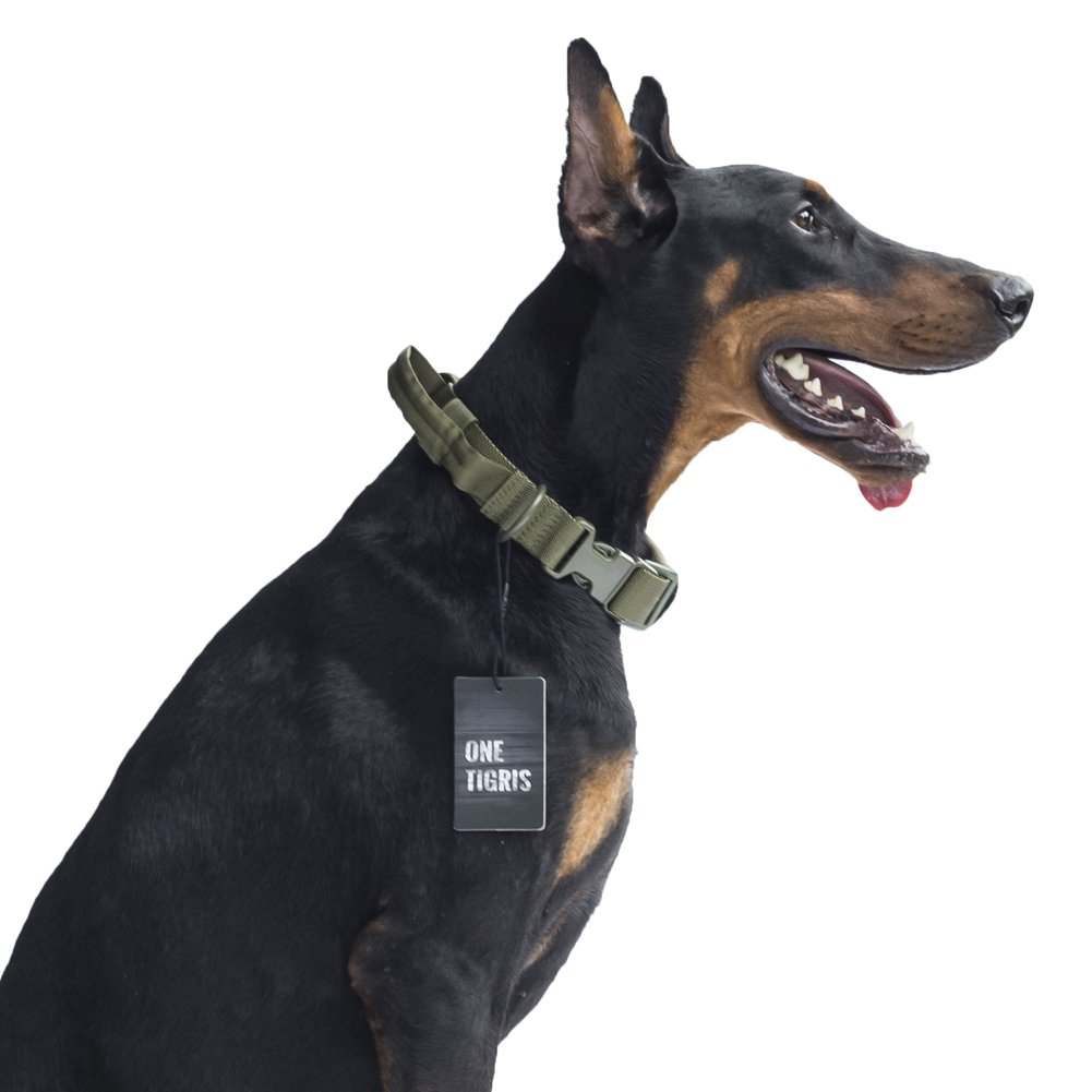 OD Green OneTigrey Tactical Dog Collar with Handle and UTX-duraflex Buckles Adjustable Nylon Collar Fit Medium to Large Dog with 17'' 24.2'' Neck Girth (OD Green)