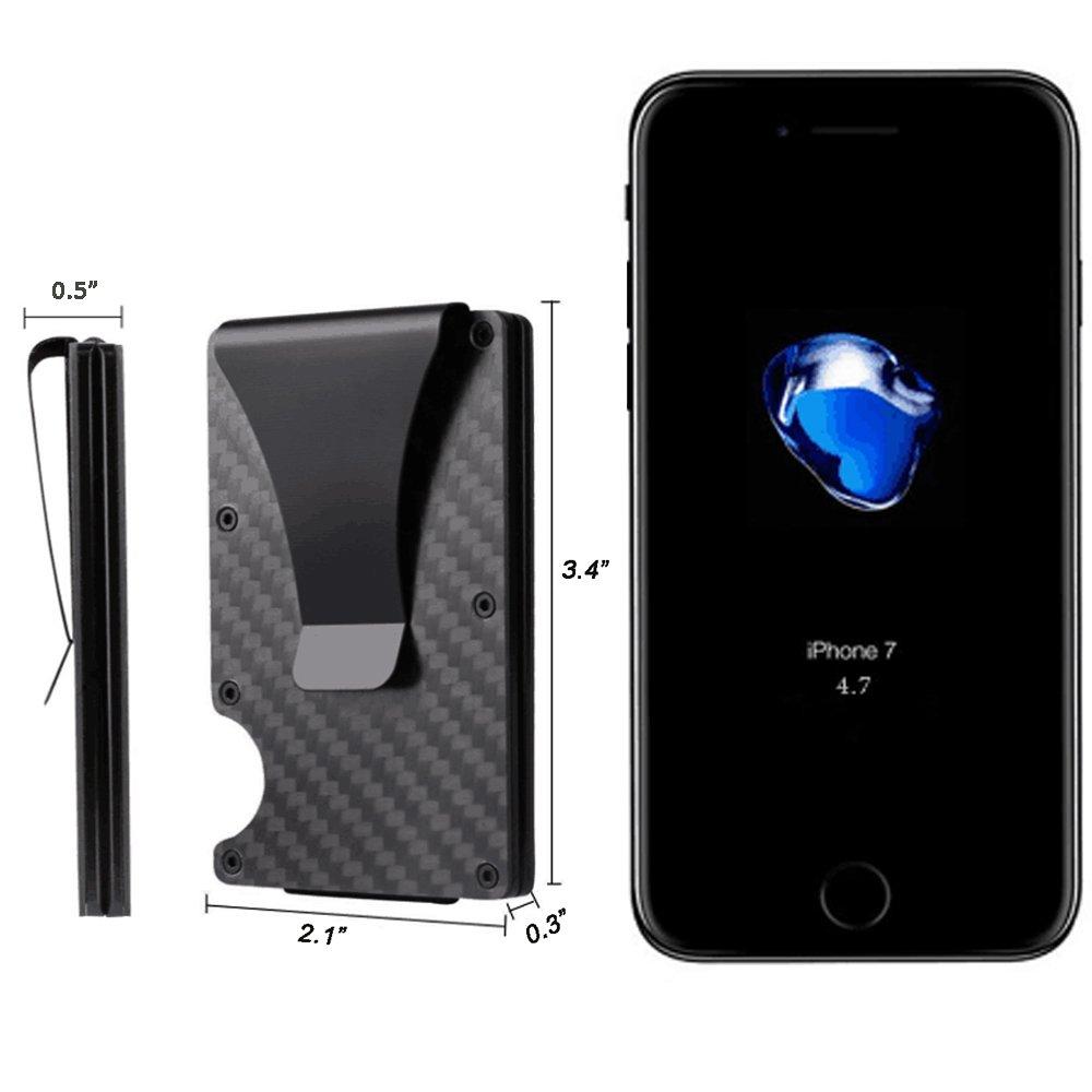 Slim Pocket Wallet, RFID Blocking Credit Card Holder of Carbon Fiber, Money Clip Black