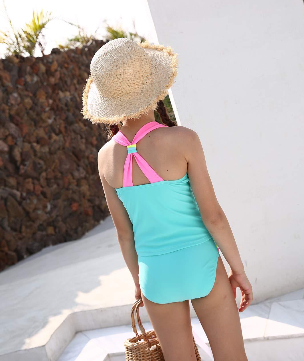 BELLOO Kids Girls Swimsuits, Two Pieces Tankini Swimsuit, Lightblue, Size 4-5