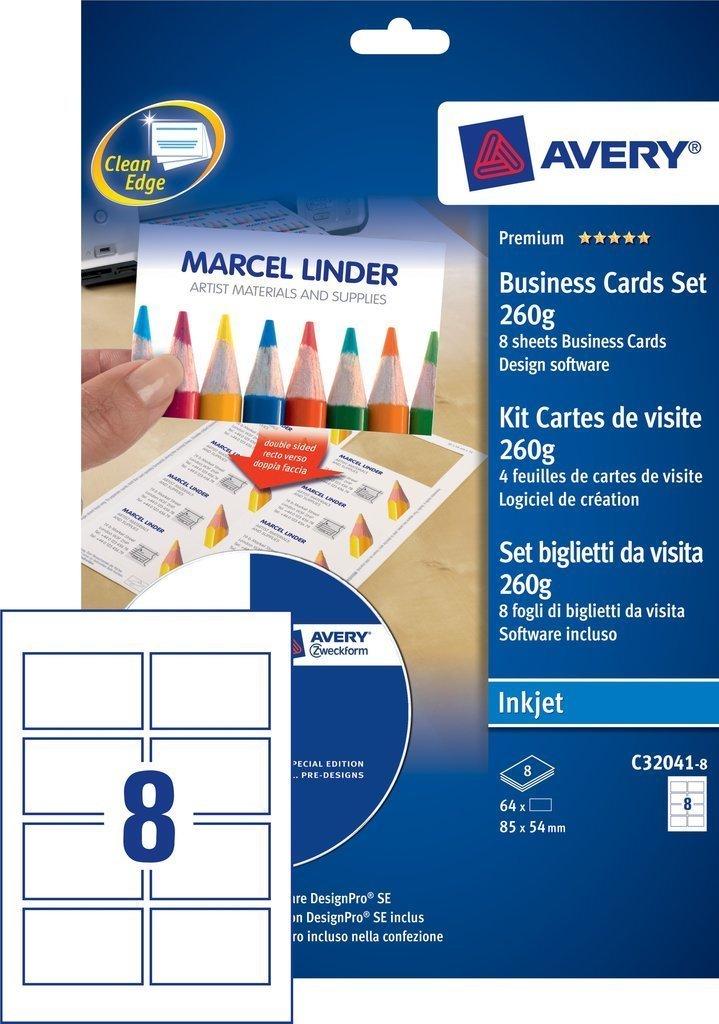 Avery Visitenkarten Mit Software Beidseitig Bedruckbar 260 G M Fur Tintenstrahldrucker Amazonde Burobedarf Schreibwaren