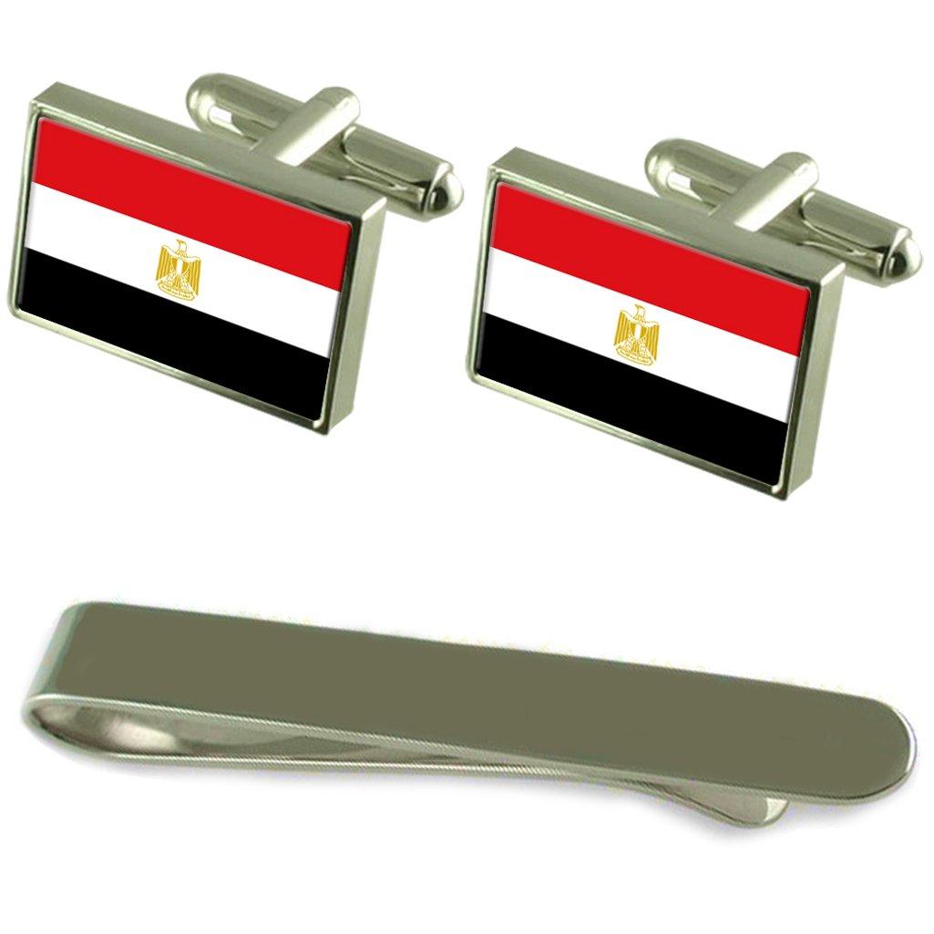 エジプトの国旗カフスボタンシルバータイクリップ刻まれたギフトセット   B01NAVQE7E