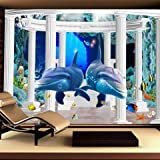 LHDLily 3D Wallpaper Mural Wall Sticker Thickening Three-Dimensional Large-Scale Living Children'S Room Cartoon Submarine Sea World 400cmX300cm