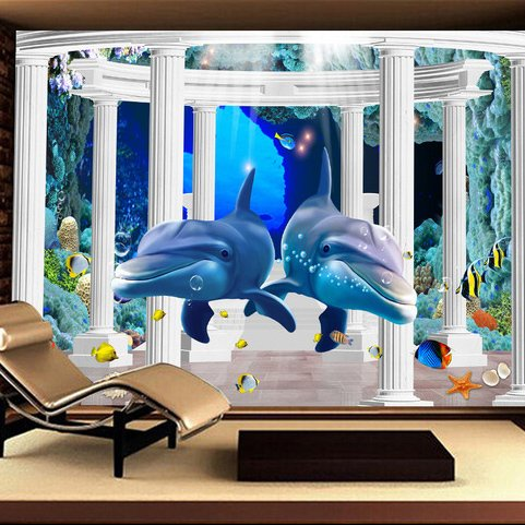 LHDLily 3D Wallpaper Mural Wall Sticker Thickening Three-Dimensional Large-Scale Living Children'S Room Cartoon Submarine Sea World 400cmX300cm by LHDLily