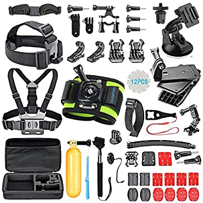 SmilePowo Outdoor Sports Camera Accessory Kit for GoPro Hero5 Black, Hero5 Session, Hero 4 Silver Black, Hero Session, Hero3+ 3 2 1, SJ,Xiaomi,AKASO,DBPOWER,Lightdow,Camera (51-in-1) by SmilePowo