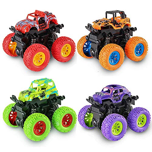 J.K-Toys Best Gifts for 3-5 Year Old Boys, Monster Trucks Toys Hot Wheels for Boys Push Cars for Toddlers Fun Toys for 2-6 Year Old Kids Boys Girls Friction Powered Cars Toys Birthday JKGSC04 4-Pack