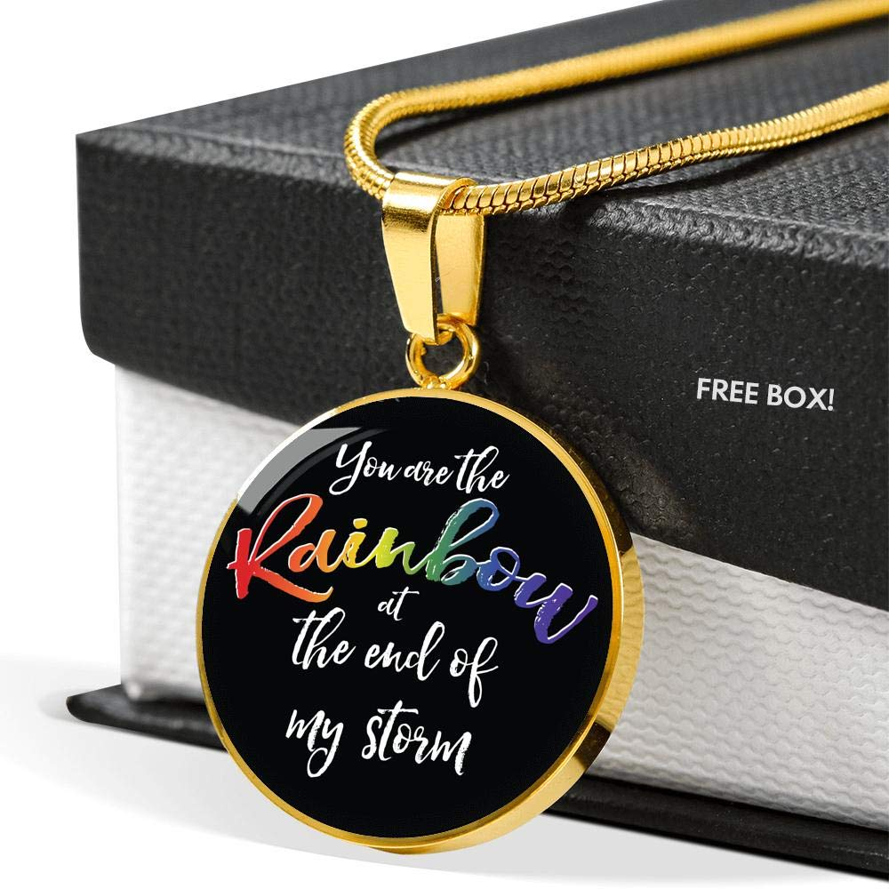 Agile Expressions You are The Rainbow at The End of My Storm LGBTQ Necklace