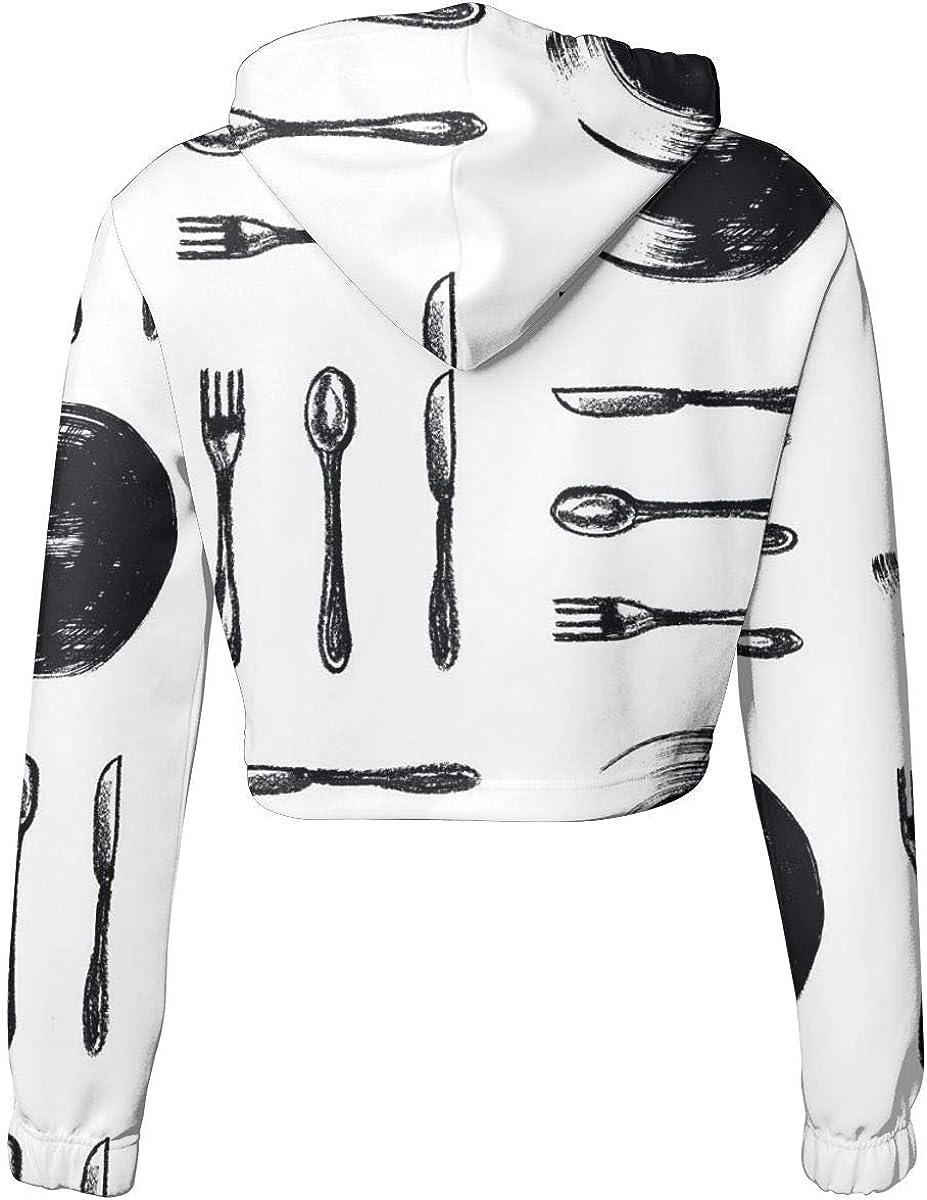 Womens Hoodie Sweater Spoons Forks Knifes Plates Crop Top Sweatshirt Lumbar Sweatshirt Cropped Hoodie