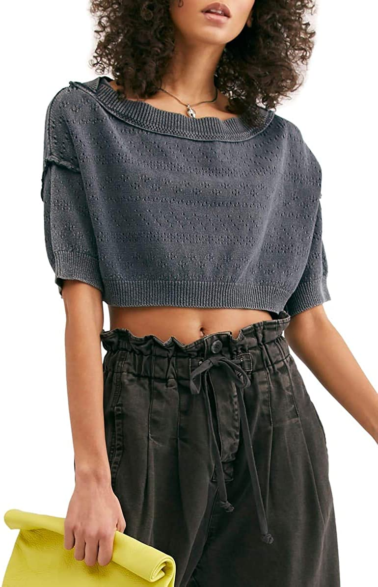 Free People Womens Sand Castle Ribbed Trim Cropped Pullover Sweater 61FZWsJwJsL
