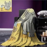Elephant Printed blanket Elephant Bathing Mouse with Trunk in the Desert Cartoon Animal Print Kids minion blanket Grey Yellow Cream size:50''x60''
