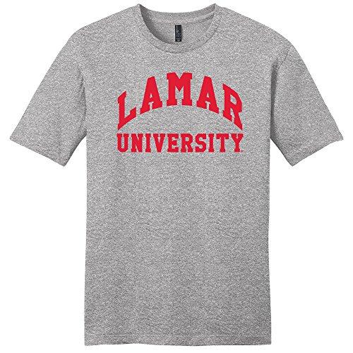 (Campus Merchandise NCAA Lamar Cardinals University Arch Soft Style T-Shirt, Large, Light Heather Grey)