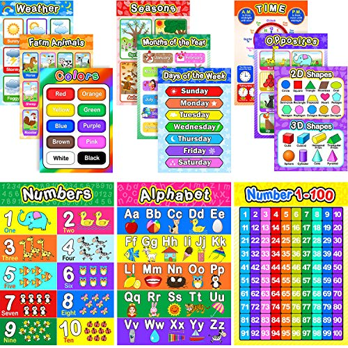 Educational Preschool Poster for Toddlers and Kids with 80 Glue Point Dot, Great for Nursery Homeschool Kindergarten Classroom - Teach Numbers Alphabet Colors Days and More, 16 x 11 Inch (12 Pieces) (Piece 11 Rolls)