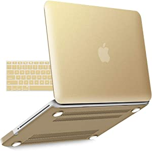 IBENZER MacBook Pro 13 Inch case A1278 Release 2012-2008, Plastic Hard Shell Case with Keyboard Cover for Apple Old Version Mac Pro 13 with CD-ROM, Gold, P13BGD+1A