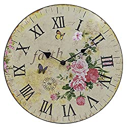 Silent Round Wall Clocks - 12 Inch Decorative Vintage / Country / French Style Wooden Clock for Living Room ,Kitchen,Bedroom by Hippih ,Round Flower