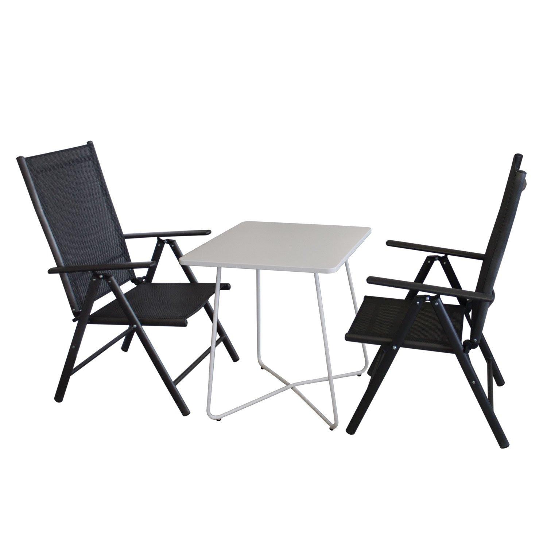 3tlg. Balkonmöbel Set Bistrotisch, Metall, 60x60cm, Weiß + 2x ...