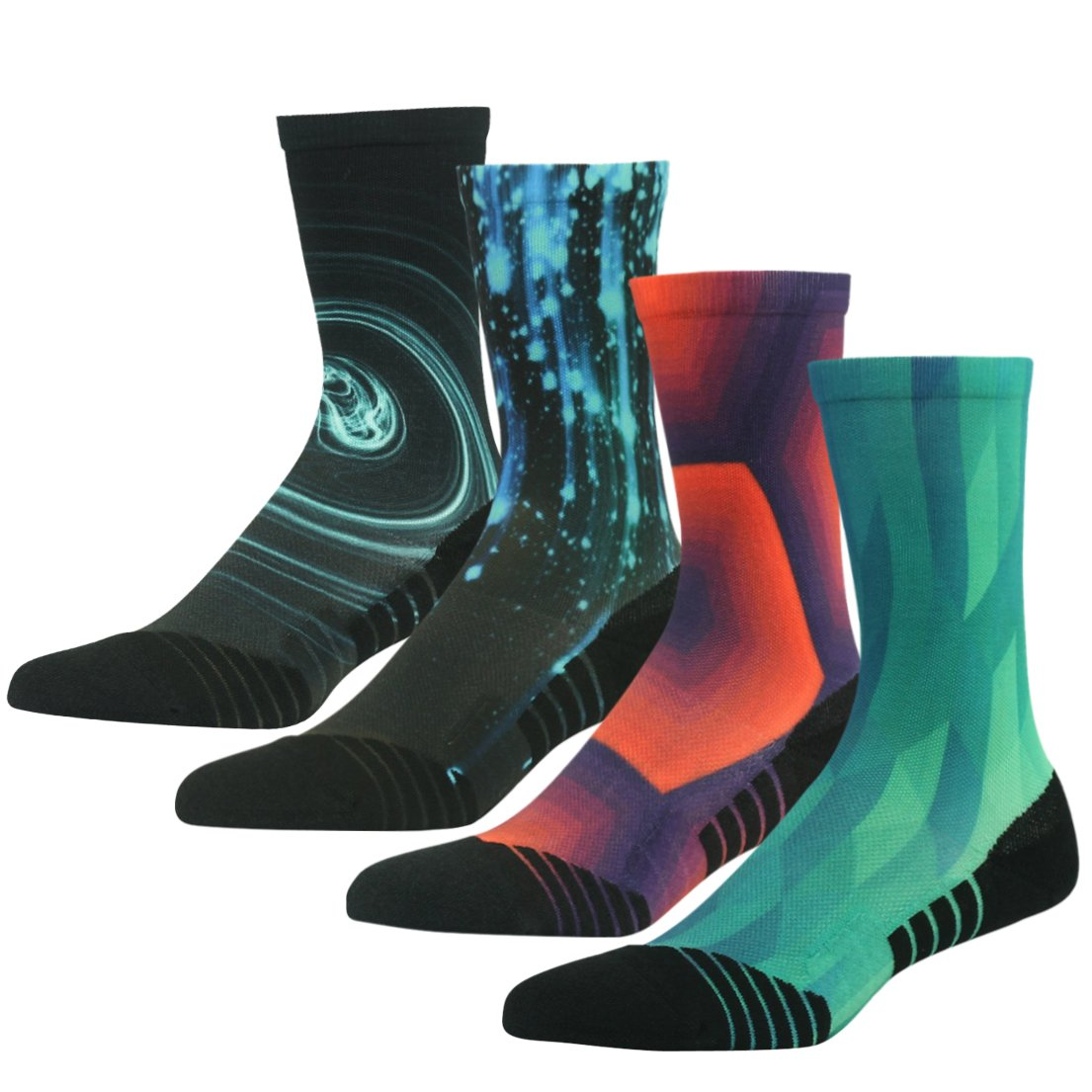 4 Pair color 14 Running Socks Support, HUSO Men Women High Performance Arch Compression Cushioned Quarter Socks 1,2,3,4,6 Pairs