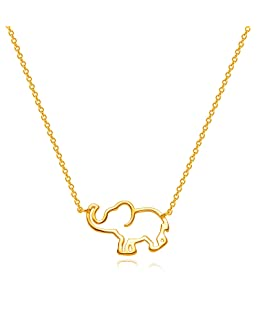 DREMMY STUDIOS Elephant Pendant Necklace, Dainty 14K Gold Filled Hollow Animal Good Luck Lucky Elephant Necklace Jewelry Gift For Women Girls
