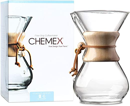 Chemex Cafetera de 6 Tazas (880 ml) con Collar de Madera: Amazon ...
