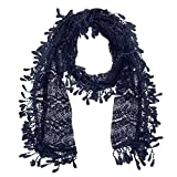 Falari Vintage Women Lace Scarf With Fringes Polyester (Style 3 - Navy)