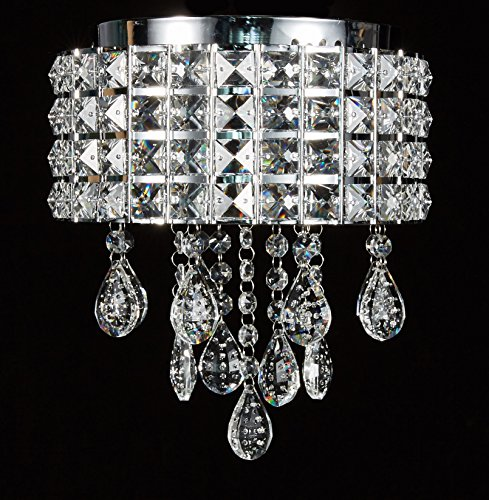 Diamond Life Modern LED Crystal Chandelier Chrome Metal Shade Flushmount Ceiling Lighting Fixture, #CD808