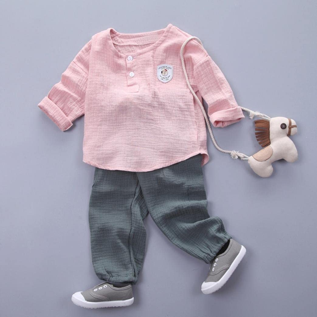 FORESTIME 2Pcs Toddler Kid Fashion Cute Baby Boy Girl Solid Print T Shirt Tops Pants Outfit Clothes Set