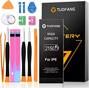 2150mAh Battery Compatible with iPhone 6, TuoFang High Capacity Lithium-ion Replacement Battery with Professional Full Set Tool Kits and Screen Protector