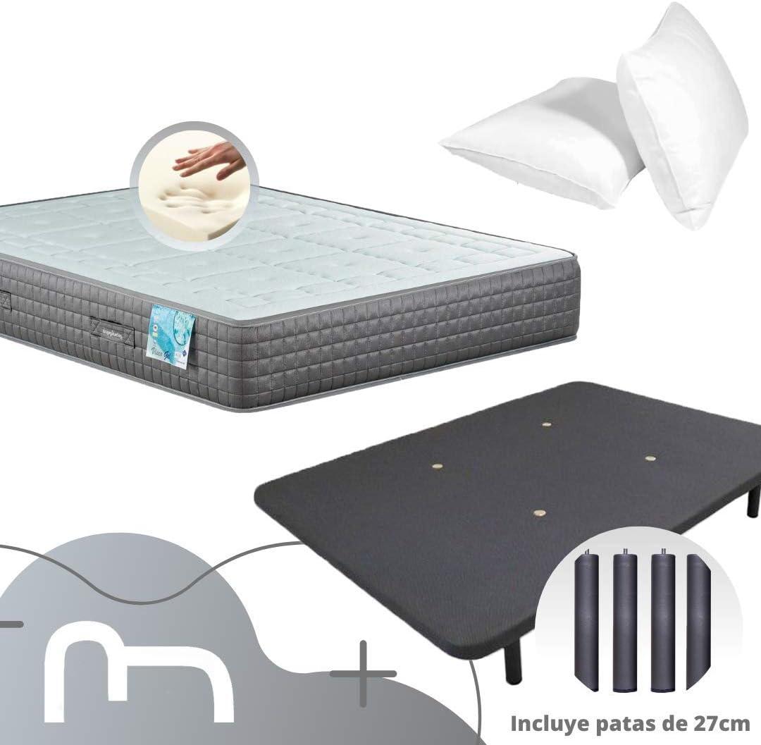 Dulces Sueños Pack COLCHON VISCOELASTICO Premium + Base TAPIZADA 3D + Patas + 2 Almohadas VISCO (105 x 190)