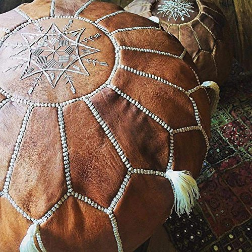 LIMITED EDITION Moroccan Leather Pouf Best offer ,100% handmade Ready to magic your living room! by Moroccan-House (Image #5)