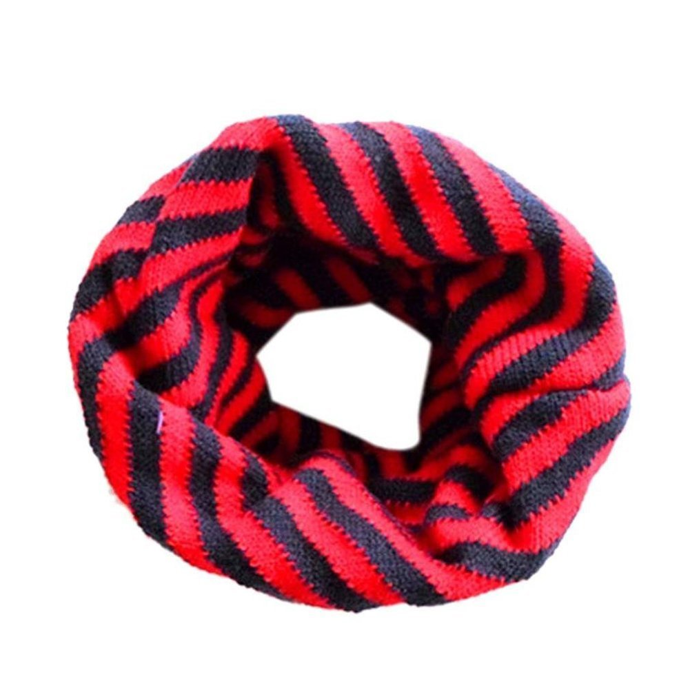 Butterme Korean Style Unisex Baby Boys Girls Winter Warm Cotton Collar Loop Scarf Striped Pattern O Ring Neck Scarves (Red) ZUMUii