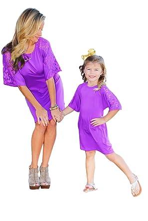 acbb2e3dcbcbd Amazon.com: Mommy & Me Lace Arm Shift Dress - 3 Colors Available: Clothing