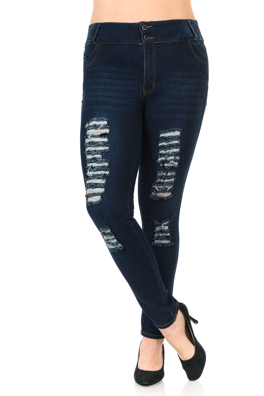 Pasion Women's Jeans - Plus Size - High Waist - Push Up - Style N402B-R - Navy - Size 26