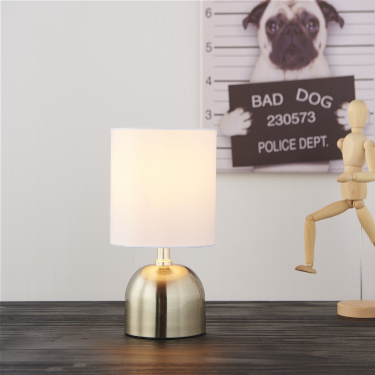 Small Bedside Nightstand Livingroom Desk Table Lamp,11.5'' Brushed Nickel Finished Accent Lamp