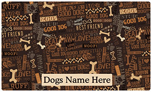 Drymate Custom Personalized Dog Place Mat - Best Friend Brown - Personalized Dog Food Mat (Large - 16