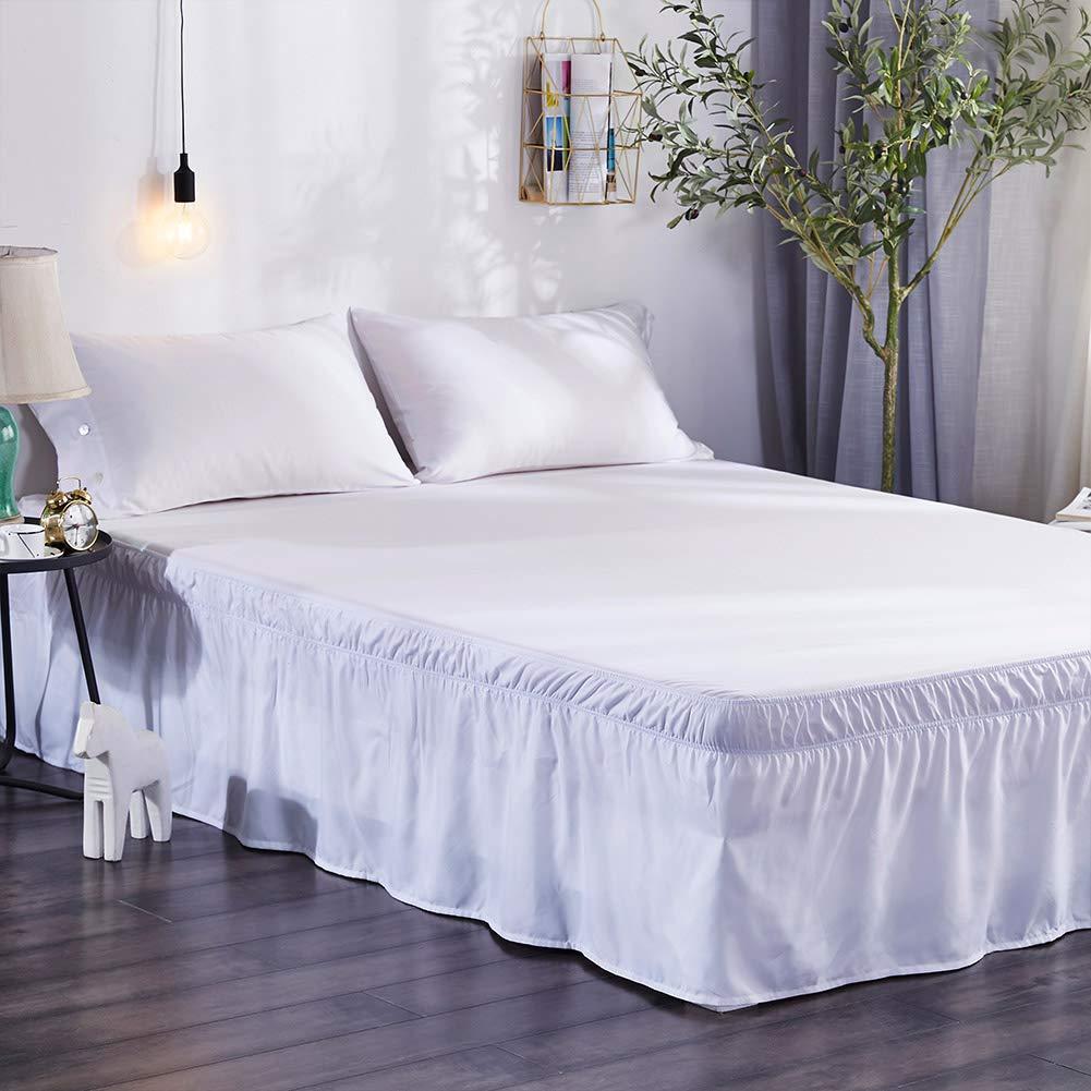 Blanc XuBa Jupe de lit /à Volants /élastique de Couleur Unie 135X200+40