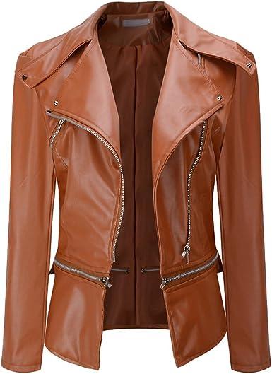 NiSeng Chaqueta de Cuero para Mujer Solapa de Imitación de Cuero Multi-Cremallera Ropa de Motociclista Chaqueta Outwear: Amazon.es: Ropa y accesorios