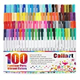 Image of Caliart Fineliner Pens 100 Colors Fine line Drawing Pen Set, 0.38mm Fine Point Markers for Planner Drawing Writing Coloring Book Bullet Journal Art Projects