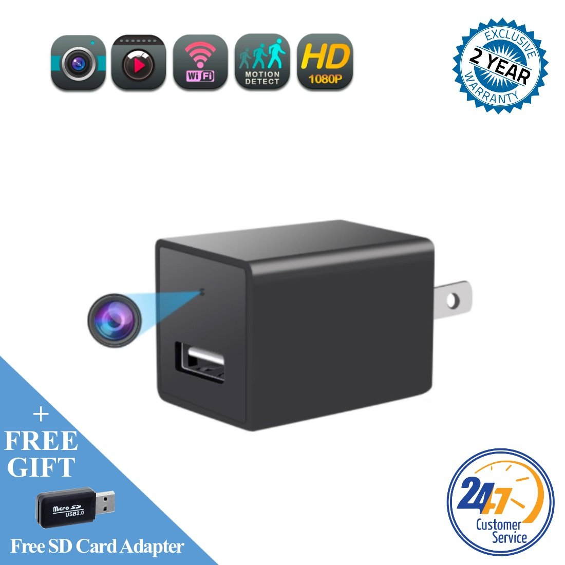 Mini spy camera USB charger by WEMLB -1080p HD hidden camera, WIFI Wireless wall plug USB Charger [Motion Detection, AC Adapter, Remote App Control] Nanny camera |Home, Kids, Baby, Pet monitoring