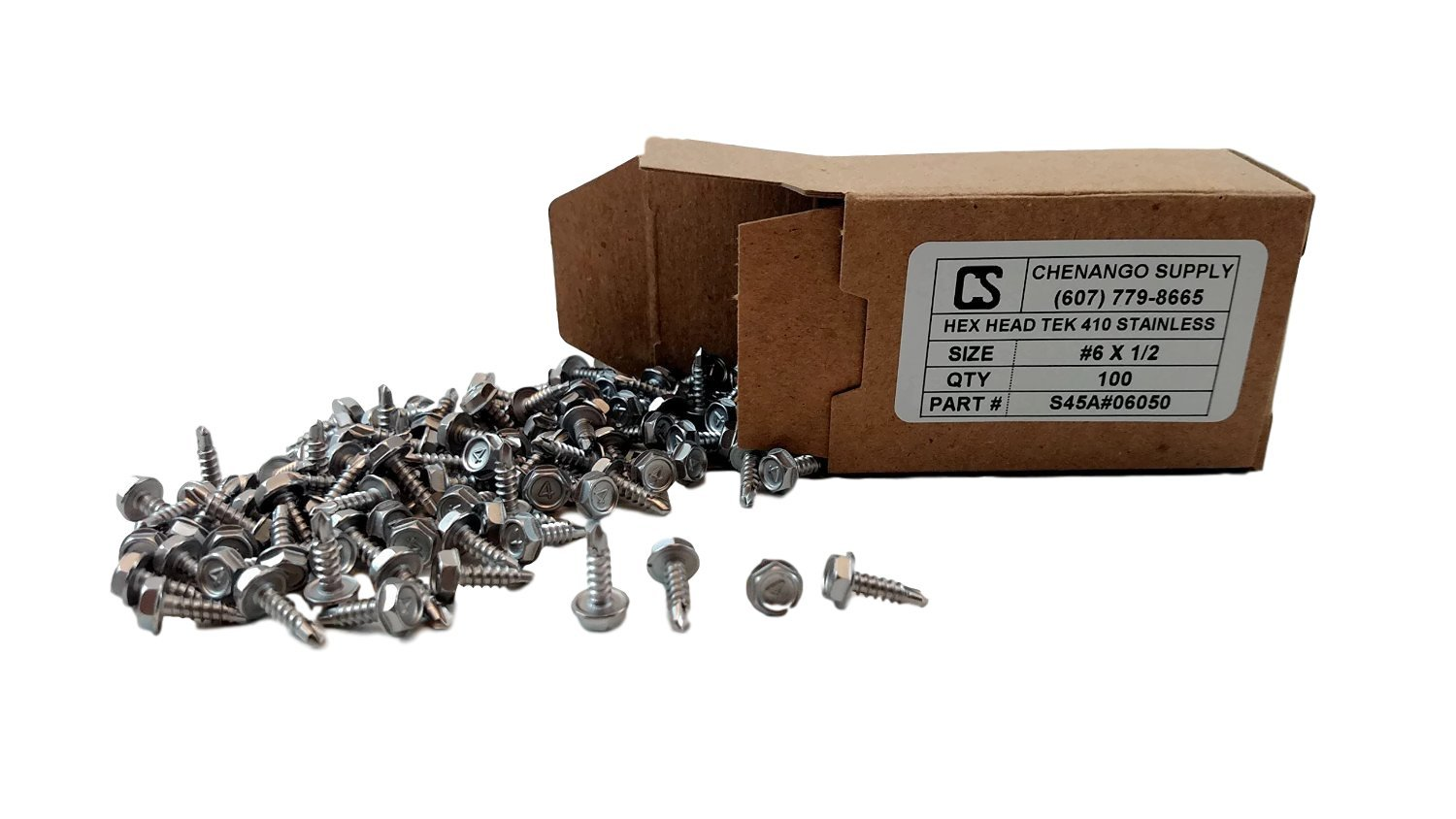 410 Stainless Steel #6 x 1//2 Inch Self Driller Stainless #6 x 1//2 Inch Hex Washer Head Self Drilling Sheet Metal Tek Screws With Drill Point 100 pieces Chenango Supply S45A#06050