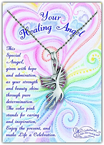Cathedral Art AP403 Angel Pendant with Pink Stones on 18-Inch Chain