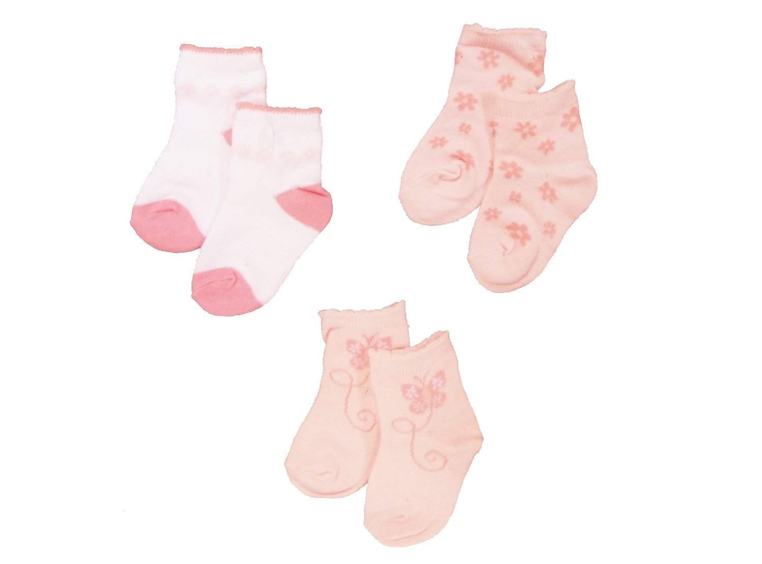 Baby Girls Cute Socks 3 Pairs - Pink Butterfly & Flowers Design (Newborn (UK Size 0-0)) Baby Best Buys BW 6112 2100