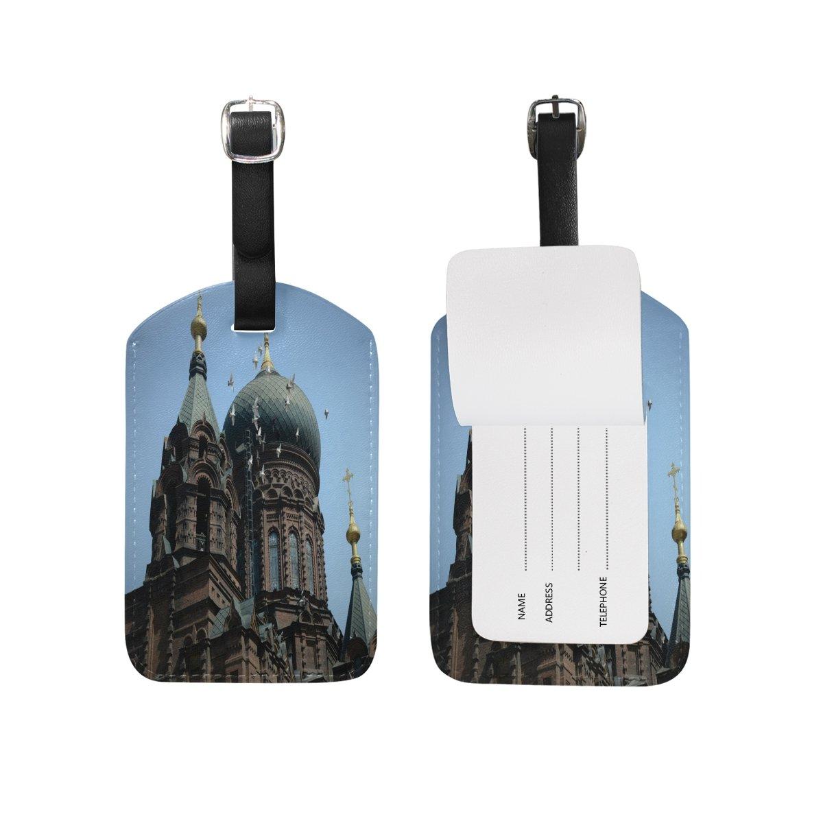 Saobao Travel Luggage Tag Night Castle PU Leather Baggage Suitcase Travel ID Bag Tag 1Pcs