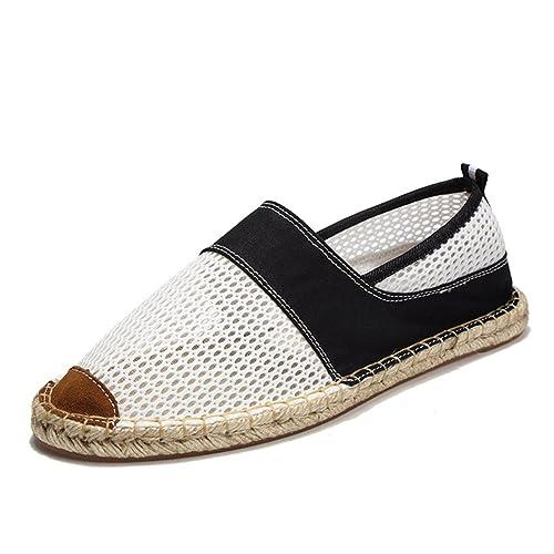 Estilo Chino Rayas Alpargatas para Hombre Casual Zapatos de Malla Negro Blanco Zapatillas: Amazon.es: Zapatos y complementos