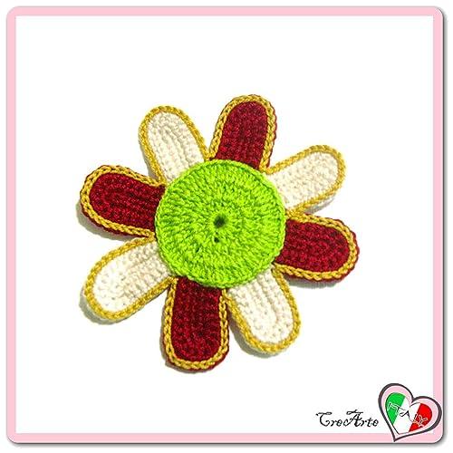 Flor burdeos, verde y beige para aplicaciones, broche o imán ...