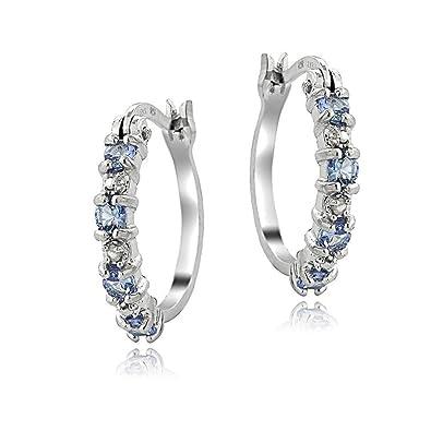 Sterling Silver Simulated Diamond Accent Huggie Hoop Earrings 6T1zi