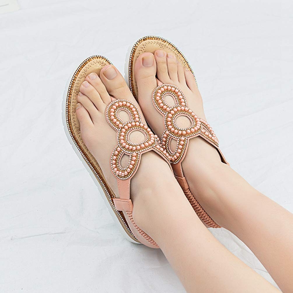 Dooxii Tongs Flip Flop Femme Plage Sandales Plates Oversize Strass Chaussures Slippers